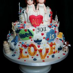 All You Need Is Love Wedding Cake
