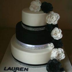 Black White and Diamonte Cake
