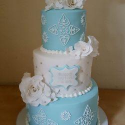 Blue and White Three Tier Communion Cake