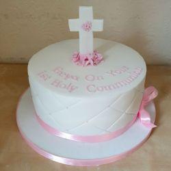 Pale Pink Communion Cake