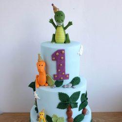 Cartoon Dinosaur 3 Tier Cake