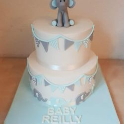 Elephant Two Tier Baby Shower Cake