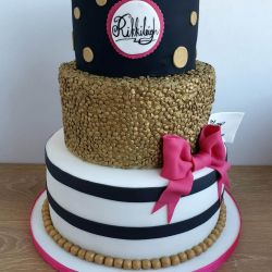 Gold and Black 3 Tier Cake
