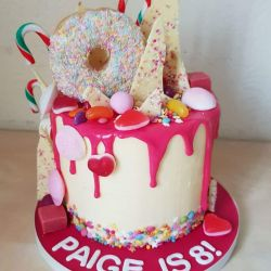 Pink Drip and Sweets 3 Layer Cake