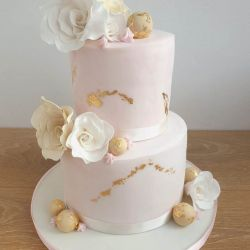 Pink Marble and Gold Leaf Roses Cake