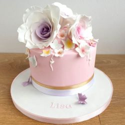 Pink and Purple Roses Cake
