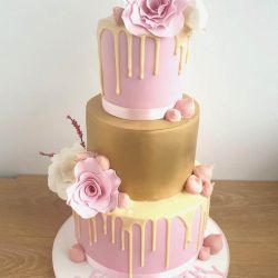 Pink and Gold Rose 3 Tier Cake