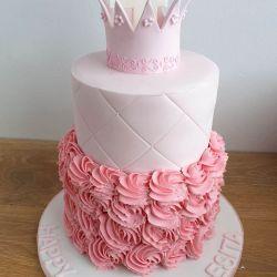 Pink Princess Buttercream Rose Cake