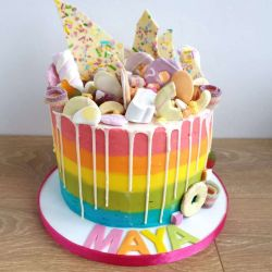 Rainbow Drip 3 Layer Cake
