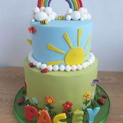 Rainbow 2 Tier Cake