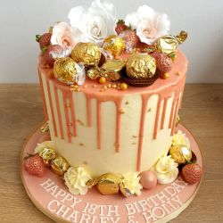 Rose Gold with Roses Drip 3 Layer Cake