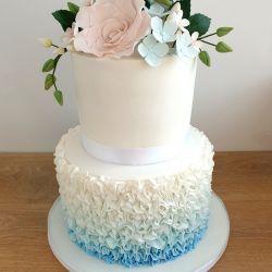 Ruffle and Flowers Wedding Cake