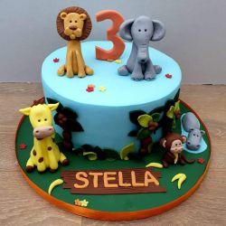 Jungle Animal Single Tier Cake