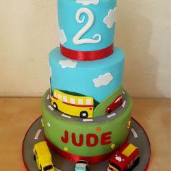 Vehicles 3 Tier Cake