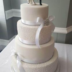 White Piped Wedding Cake