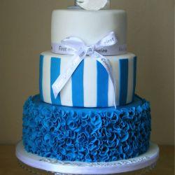 Ruffle and Stripe Communion Cake