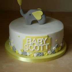 Yellow Elephant and Button Baby Shower Cake