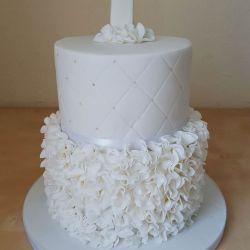White Ruffle Communion Cake