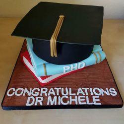 Graduation Cap and Books Cake