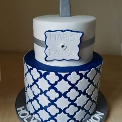 Navy and Silver Communion Cake