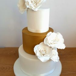 Gold and White Rose Wedding Cake