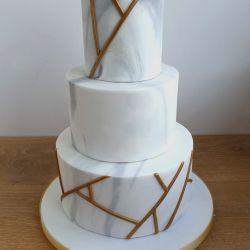 Marble and Gold Geometric Wedding Cake