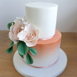 Peach and Roses Wedding Cake