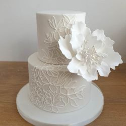 Piped Flower and Leaf White Wedding Cake