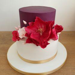 Purple Burgundy and Gold Wedding Cake