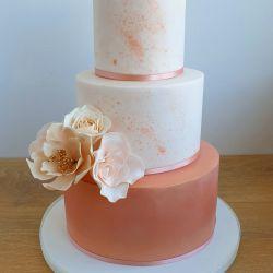 Rose Gold Splatter Wedding Cake
