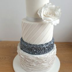 Silver Sequin and White Ruffle Wedding Cake