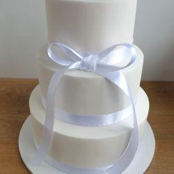 White Bow 3 Tier Wedding Cake