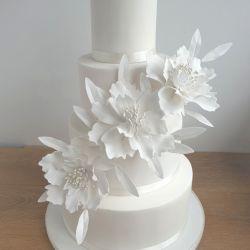 White Flowers 4 Tier Wedding Cake