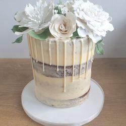 White Flower Drip Semi Naked Cake
